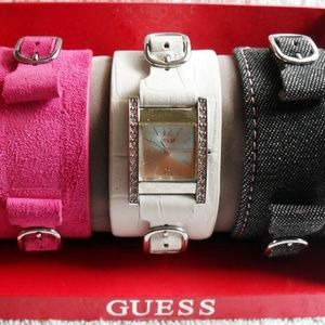 Guess Pink Crystal Interchangeable Bands Watch